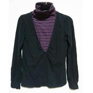 ★12月で削除★Mサイズ 授乳服 黒、紫ボーダー(マタニティトップス)