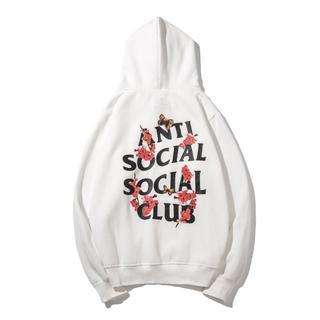 アンチ(ANTI)のANTI SOCIAL SOCIAL CLUB パーカー 裏起毛 ホワイト L(パーカー)