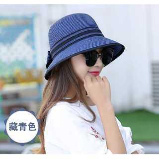 口コミ多数◆上品な麦わら帽子◆レディース◆ネイビ(麦わら帽子/ストローハット)