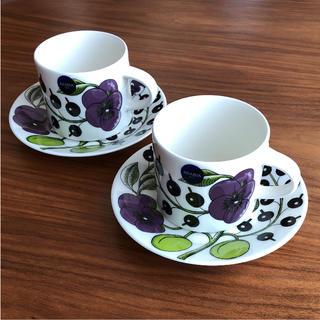 アラビア(ARABIA)の【新品】アラビア パープル パラティッシ コーヒーカップ&ソーサー 2客(食器)