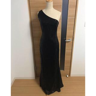 TADASHI SHOJI - ワンショルダースパンコールロングドレス BK US4