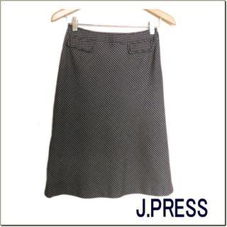 ジェイプレスレディス(J.PRESS LADIES)のジェイプレス◆茶白ミックス模様膝丈スカート◆オンワード樫山◆日本製◆9(ひざ丈スカート)