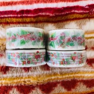 新品 マスキングテープ 4本セット フラワー(テープ/マスキングテープ)