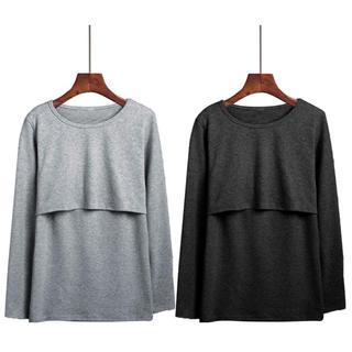 授乳服 授乳口付き 授乳Tシャツ長袖 インナー 2枚組(ブラックXグレー)(マタニティトップス)