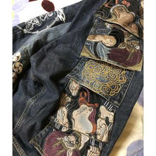 カラクリタマシイ(絡繰魂)のからくり魂カラクリ和柄刺繍デニムジーンズ大きなサイズ美品40レア絡繰魂(デニム/ジーンズ)
