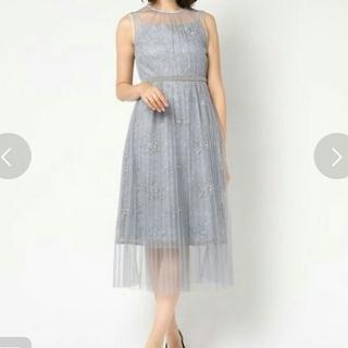 エメ(AIMER)のDolly Dollチュールプリーツ加工レイヤード シアー刺繍ミモレ丈ワンピース(ミディアムドレス)