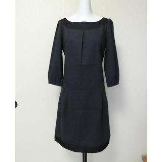 INDIVI インディヴィ 濃グレーで黒い布帛が付いた8分袖ウールワンピース36