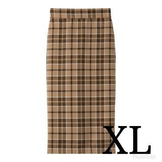 ジーユー(GU)の【新品未使用】gu タータンチェックナローミディスカート XL(ひざ丈スカート)