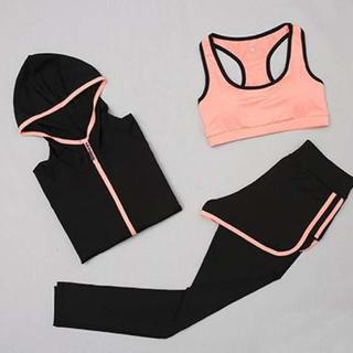 ■Lサイズ スポーツウェア セット フィットネス ヨガ ランニング ジムウェア(トレーニング用品)