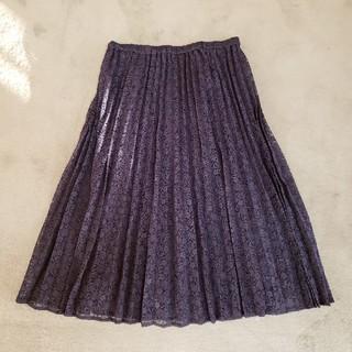 ジーユー(GU)の美品❗送込❗レースプリーツスカート/XL(ひざ丈スカート)