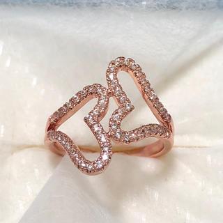 ダブルハート♡CZマイクロパヴェダイヤモンド ローズゴールドリング(リング(指輪))