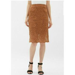 ジーユー(GU)のGU ジーユー レースタイトスカート ブラウン キャメル Lサイズ(ひざ丈スカート)