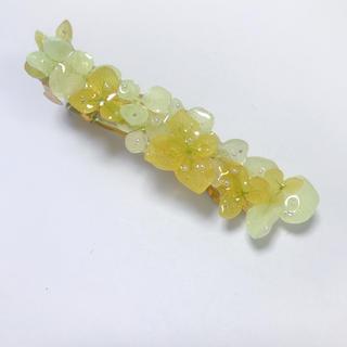 記念せーる!黄緑紫陽花の立体的バレッタ8cm(ヘアアクセサリー)