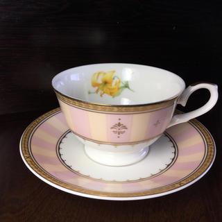 ナルミ(NARUMI)のナルミ カップソーサー  金彩 ピンク 昭和レトロ 未使用(グラス/カップ)