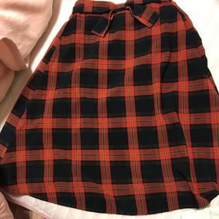 シマムラ(しまむら)の赤系リボン付きチェック柄スカート♡(ロングスカート)