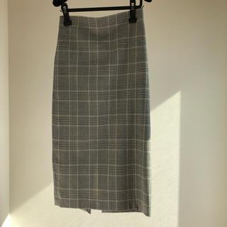 ザラ(ZARA)のZARA ハイウエスト タイトスカート グレンチェック ロング サイズS(ロングスカート)