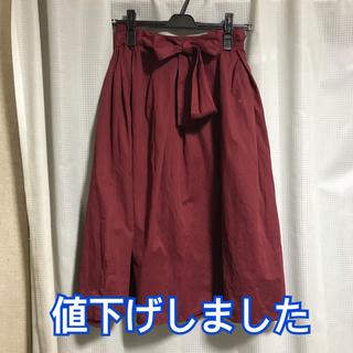 ジーユー(GU)のウエストリボンフレアスカート(ひざ丈スカート)