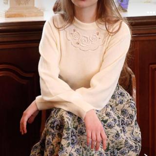 アンアナザーアンジェラス(an another angelus)のタグ付新品♡アンアナザーアンジェラス 昨年購入フラワー刺繍ニット黒(ニット/セーター)