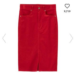 ジーユー(GU)のコーデュロイタイトスカート♡赤(ひざ丈スカート)