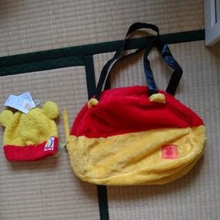 クマノプーサン(くまのプーさん)の赤ちゃん帽子とママバッグ(帽子)