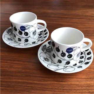 アラビア(ARABIA)の【新品】アラビア ブラック パラティッシ コーヒーカップ&ソーサー 2客(食器)