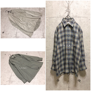 [used]dusty blue plaid shirt.(シャツ)
