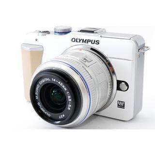 オリンパス(OLYMPUS)の☆WiFiでスマホに写真転送☆オリンパス E-PL1 ホワイト レンズキット(ミラーレス一眼)