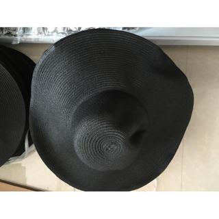 レディース 麦わら帽子 おしゃれ ストローハット ブラック(麦わら帽子/ストローハット)