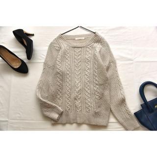 ショコラフィネローブ(chocol raffine robe)のショコラフィネローブ 毛100%ケーブルニット セーター chocol raff(ニット/セーター)