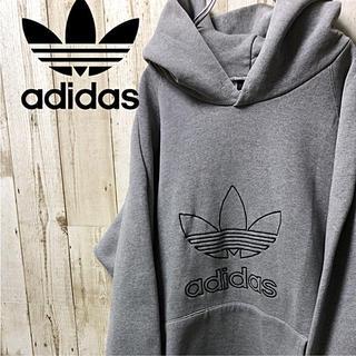 アディダス(adidas)の【激レア】adidas アディダス ビックロゴ  パーカー M 黒タグ(パーカー)