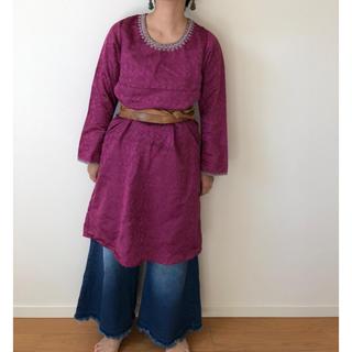 vintageインド綿ワンピース 古着ワンピース エスニック(ひざ丈ワンピース)