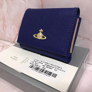 ヴィヴィアンウエストウッド(Vivienne Westwood)の三つ折りがま口⭐︎ブルー財布⭐︎ヴィヴィアンウエストウッド(財布)