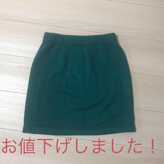 ジーユー(GU)のgu グリーンニットミニスカート(ミニスカート)