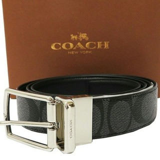 コーチ(COACH)の【COACH★F64825】コーチ メンズベルト 黒レザー リバーシブル可 新品(ベルト)