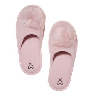 ヴィクトリアズシークレット(Victoria's Secret)の新品 ヴィクシー ポンポン付きニットスリッパ ピンク(スリッパ/ルームシューズ)