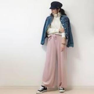 ジーユー(GU)の新品 GU ベロア ワイドパンツ ピンク S ガウチョ(カジュアルパンツ)