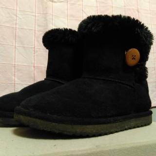 黒のショートブーツ 19cm 中ボア付き(ブーツ)