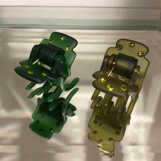 コンプレックスビズ(Complex Biz)のコンプレックスビズ  石付きスーパークリップ2個セット秋カラーグリーンとオリーブ(バレッタ/ヘアクリップ)