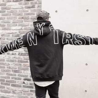 【ビーロマンス 】パーカー 長袖 フード付き ストリート  黒×白(パーカー)