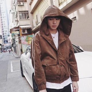 コーデュロイパーカー ジャケット 韓国系 ストリート トレンド 古着系(パーカー)
