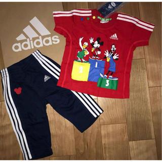 アディダス(adidas)の新品 アディダス×ディズニー♪コラボトレーニングウエア ジャージ ベビー服上下(Tシャツ)