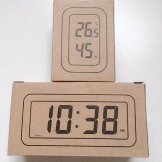 ムジルシリョウヒン(MUJI (無印良品))の無印良品 デジタル時計 小(アラーム機能付) デジタル温湿度計 ホワイト(置時計)