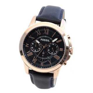 5.フォッシル グラント クオーツ メンズ クロノ 腕時計 ネイビー(レザーベルト)