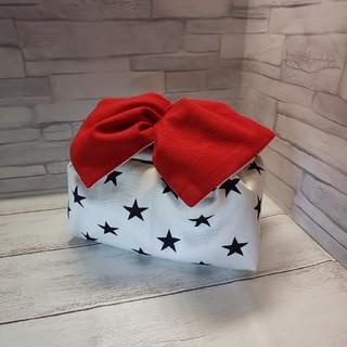 ハンドメイド☆お弁当袋 長方形(大)赤いリボン(ランチボックス巾着)