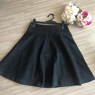 デミルクスビームス(Demi-Luxe BEAMS)のDemi-Luxe BEAMS ウールフレアスカート 黒 グレー(ひざ丈スカート)