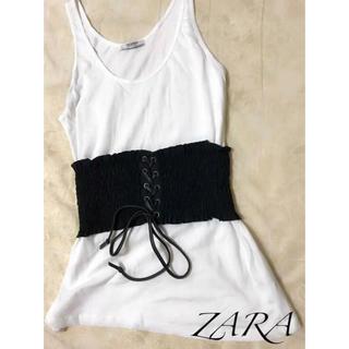 ザラ(ZARA)のZARA♡未使用♡コルセット ベルト付きタンクトップ(タンクトップ)