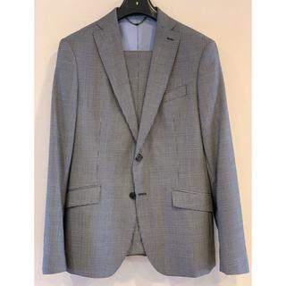 ザラ(ZARA)のザラ 100%ウールのスーツ 上52下44 グレー立体的な格子柄(セットアップ)