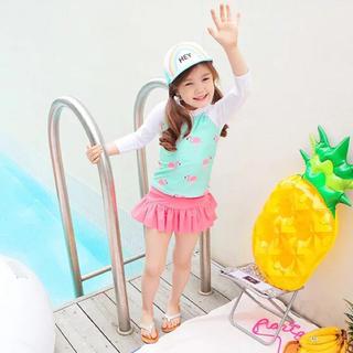 110cm♡フラミンゴ柄長袖ラッシュガード ベビー水着 キッズ 6号(水着)