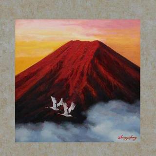 『赤富士飛鶴』 掛じく 掛け軸 タペストリー(絵画/タペストリー)