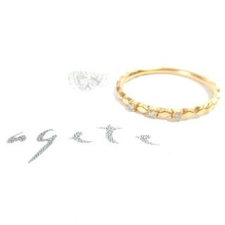 アガット(agete)のアガット 0.03ct三粒ダイヤモンド付K14リング 9号(ネックレス)